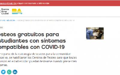 TESTEO PARA ALUMNOS CON SÍNTOMAS COMPATIBLES CON COVID-19